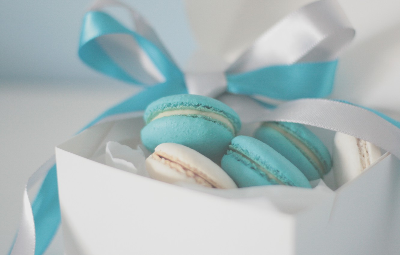 Photo wallpaper background, box, blue, Wallpaper, mood, food, cookies, tape, cake, bow, cream, sweet, packaging