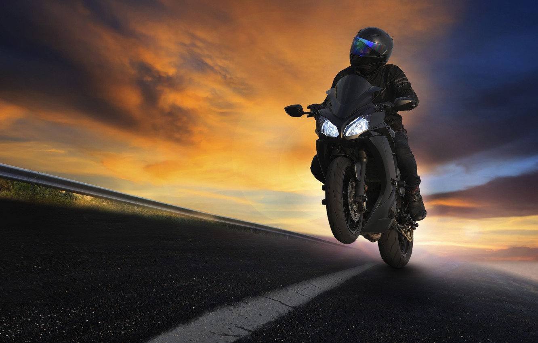 Photo wallpaper road, nature, movement, markup, speed, the evening, turn, motorcycle, biker, bike, moto, bike, bokeh, biker, …