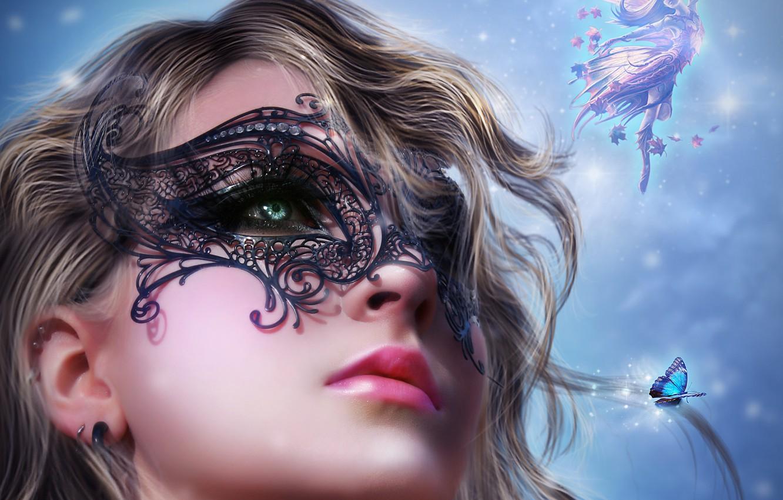 Photo wallpaper look, girl, face, butterfly, hair, wings, mask, fairy, art, lips, black, curls