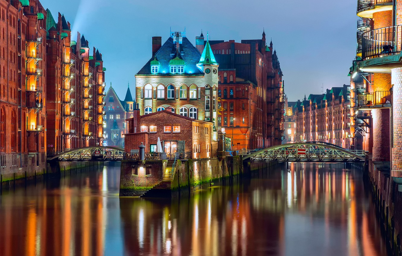 Photo wallpaper light, bridge, the city, lights, home, the evening, Germany, backlight, channel, Hamburg, the state, Germany, …
