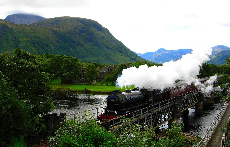 Photo wallpaper mountains, river, train, Hogwarts Express