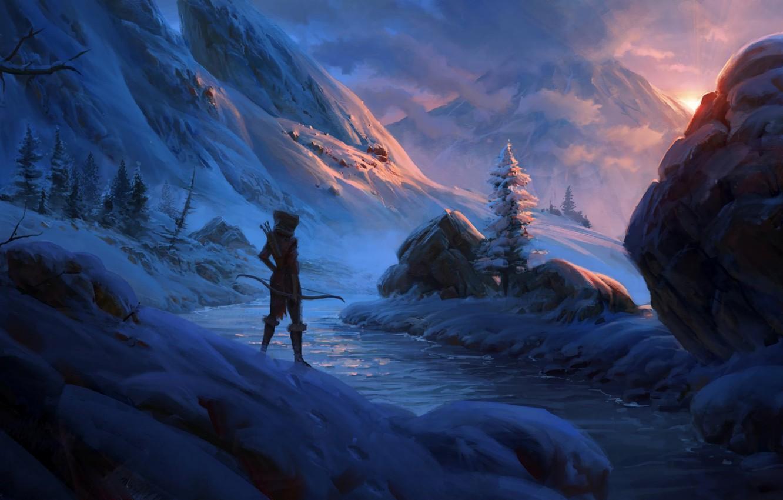 Photo wallpaper snow, sunset, mountains, stream, stones, warrior, art, traveler, Archer, video game, Skyrim, The Elder Scrolls …