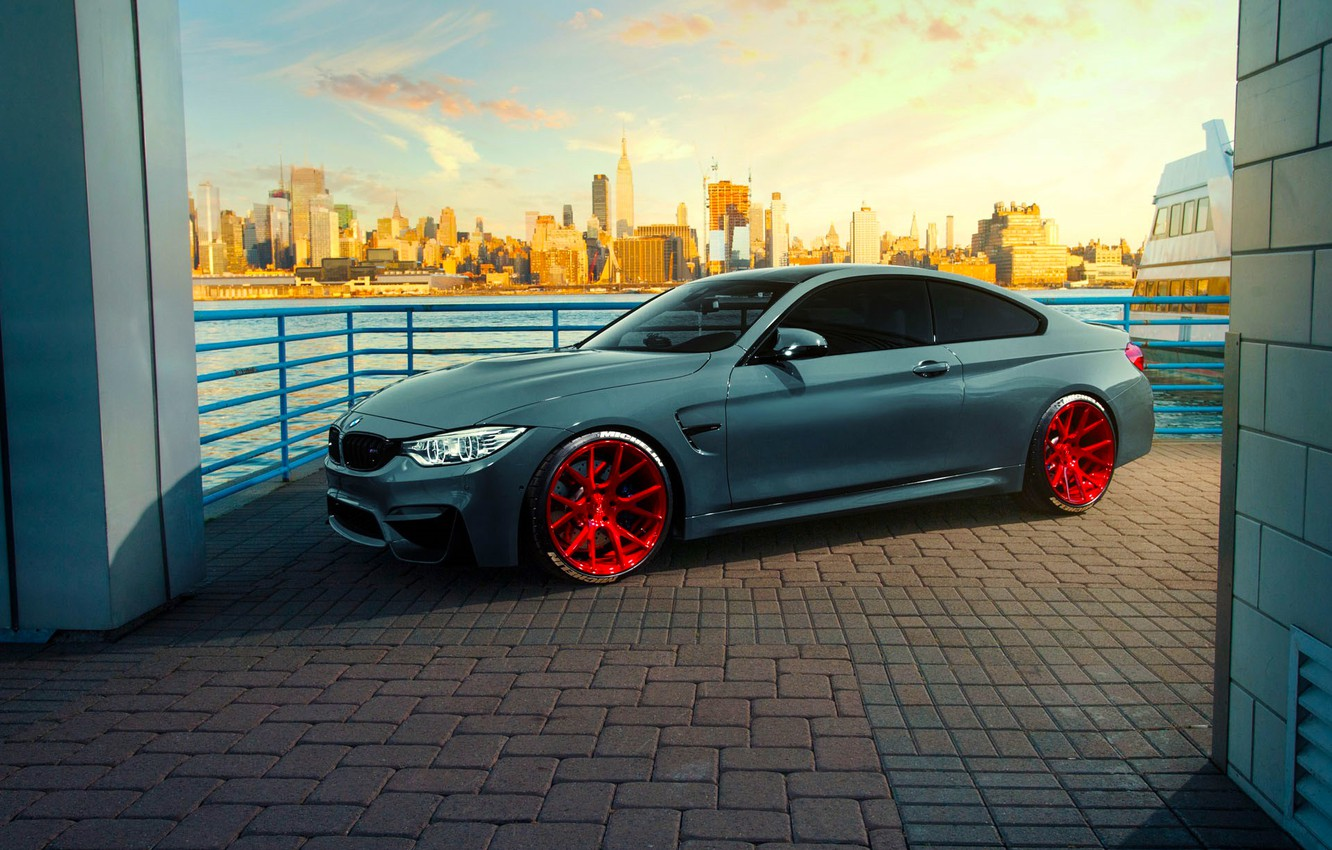 Photo wallpaper BMW, City, Car, Front, Coupe, Sunset, Vossen, Wheels, F82, VPS-306