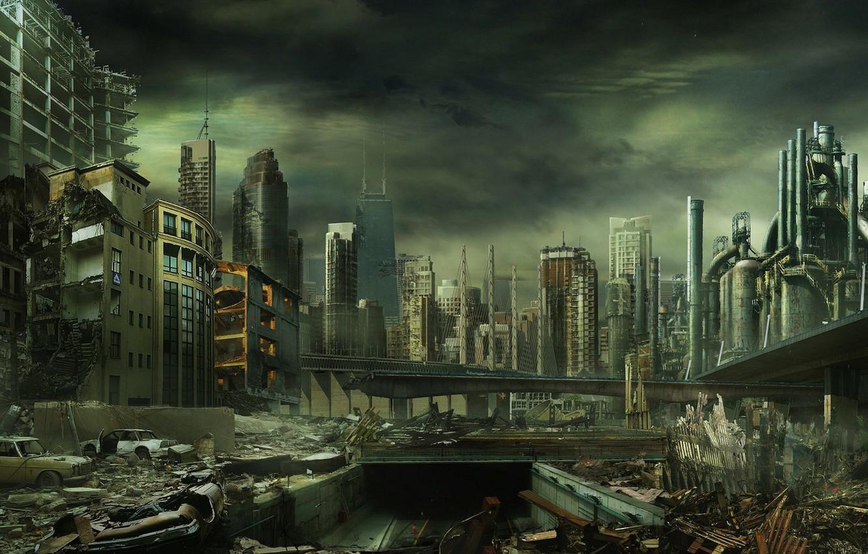 Photo wallpaper the city, destruction, disaster