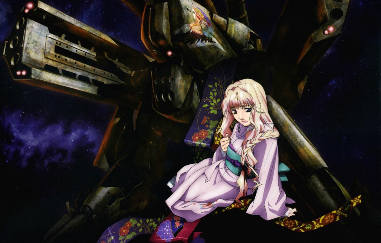 Photo wallpaper night, kimono, sheryl nome, macross frontier, super-weapons, combat robot, by yuuko yamada