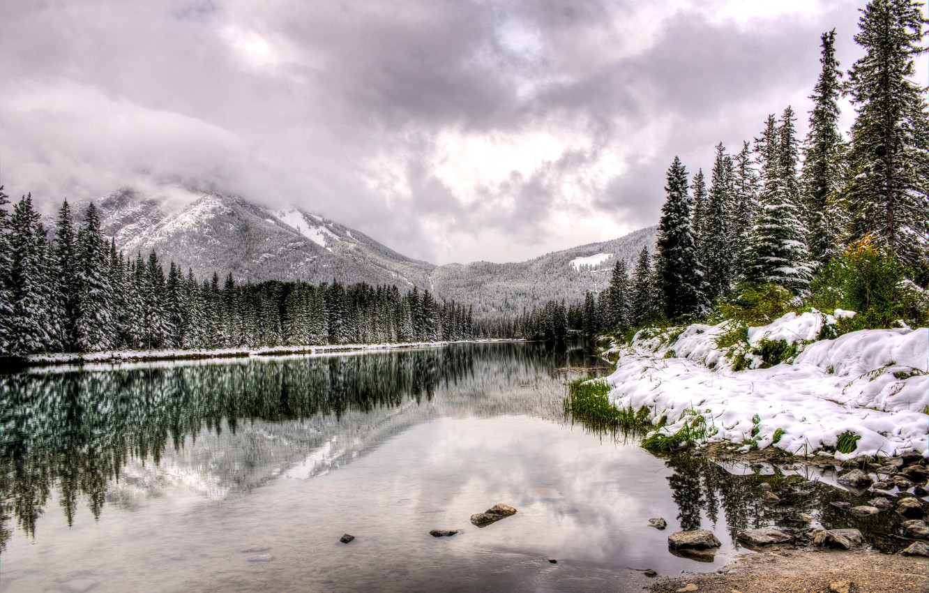 Photo wallpaper winter, water, clouds, snow, trees, landscape, mountains, nature, lake, reflection, Canada, Albert, Alberta, Canada