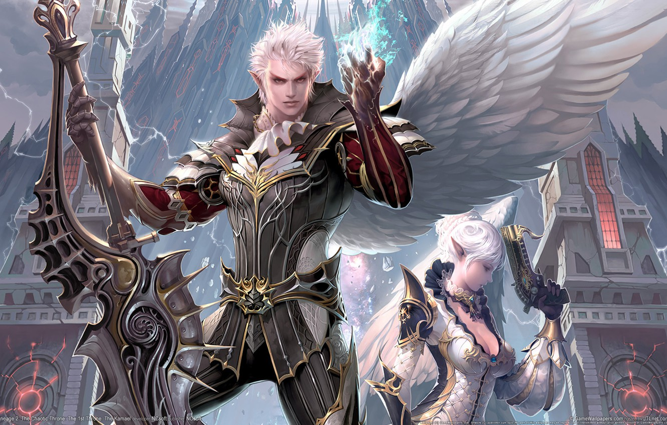 Photo wallpaper the city, weapons, magic, wings, sword, warrior, lineage, Kamael