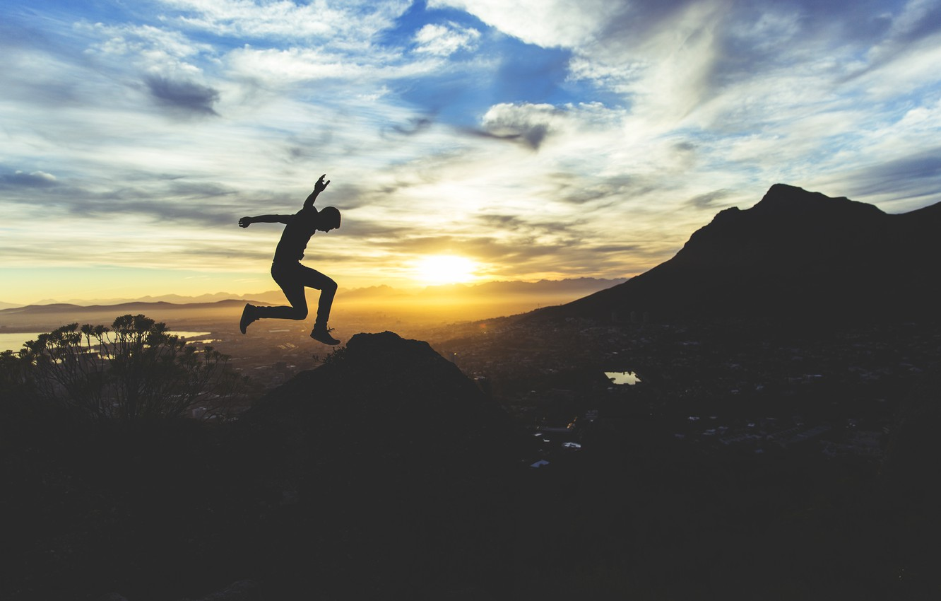 Photo wallpaper clouds, sunset, mountains, nature, people, Sunrise, adventure, jumping