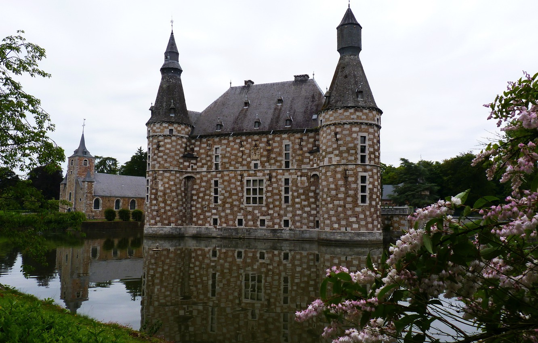Photo wallpaper the city, pond, castle, Belgium, Jehay