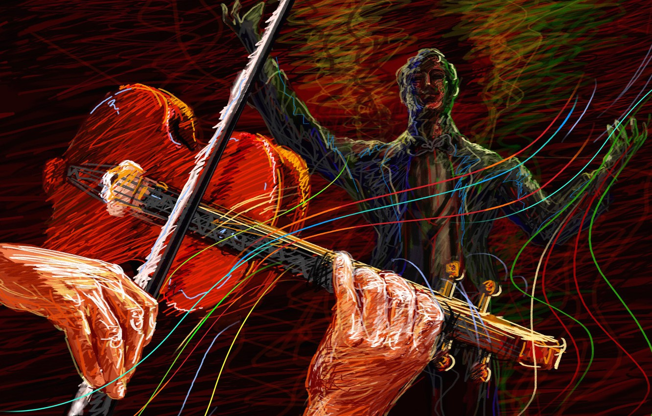 Photo wallpaper violin, vector, concert, violinist, sounds, touch, conductor