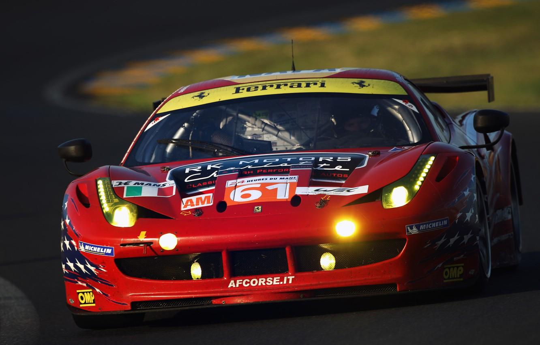 Photo wallpaper The Mans, Ferrari, red, 458, Italia, 24 Hours of Le Mans, GTC 2011, car wallpaper, …