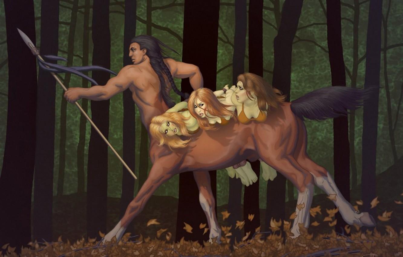 Photo wallpaper forest, girls, centaur, spear, mining