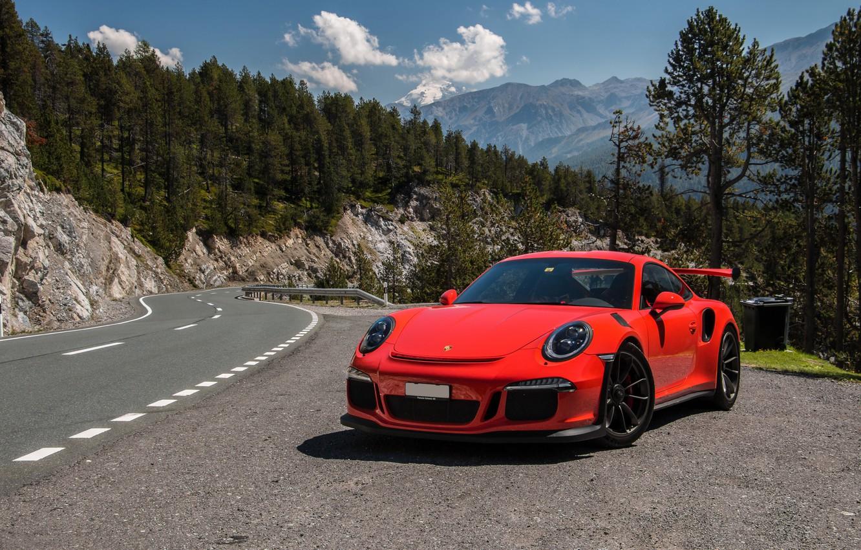 Photo wallpaper 911, Porsche, rock, road, GT3, 2015