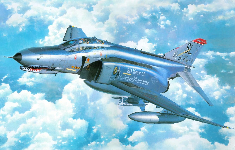 Photo wallpaper the sky, figure, fighter, art, multipurpose, UNITED STATES AIR FORCE, Phantom II, support, McDonnell Douglas, …