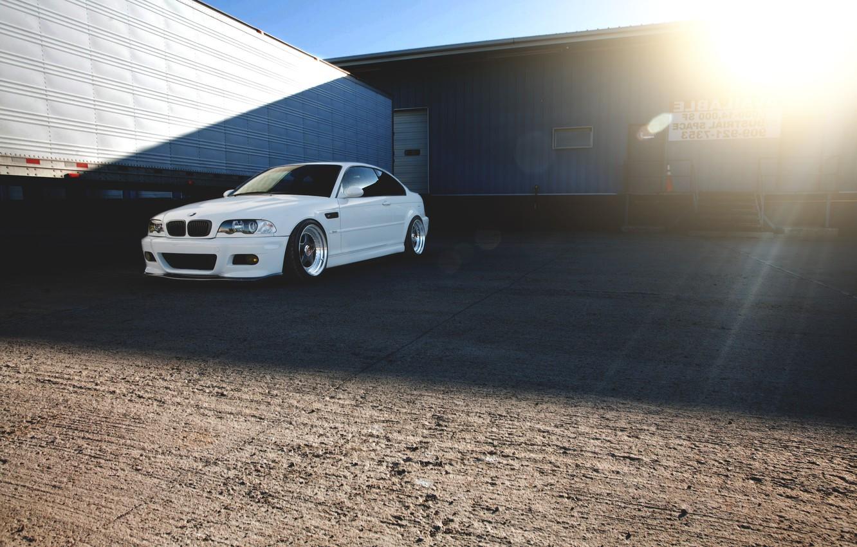 Photo wallpaper white, the sun, bmw, BMW, shadow, white, Blik, e46