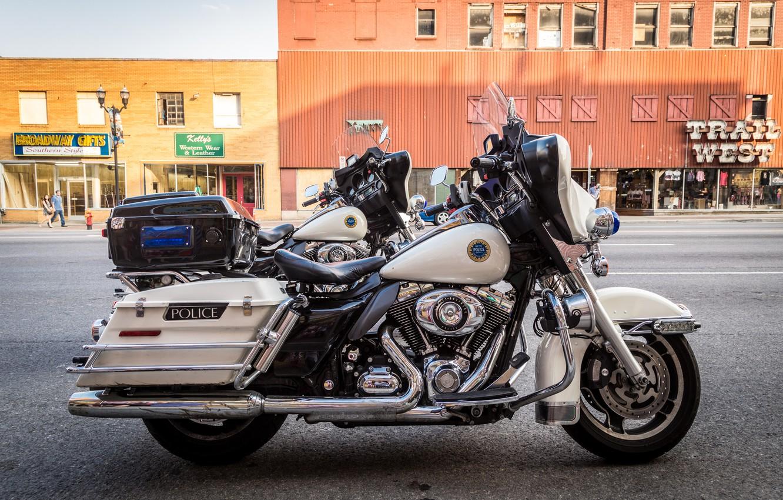 Photo wallpaper motorcycles, Harley-Davidson, police, highway patrol