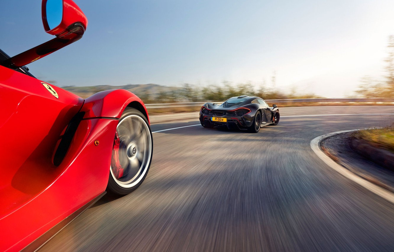 Photo wallpaper McLaren, Ferrari, Red, Sky, Power, Speed, Black, Sun, Supercars, Road, LaFerrari, Rear, Lead, Moutian