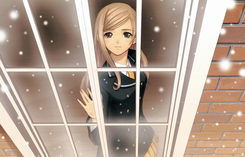 Photo wallpaper winter, snow, anime, window. girl