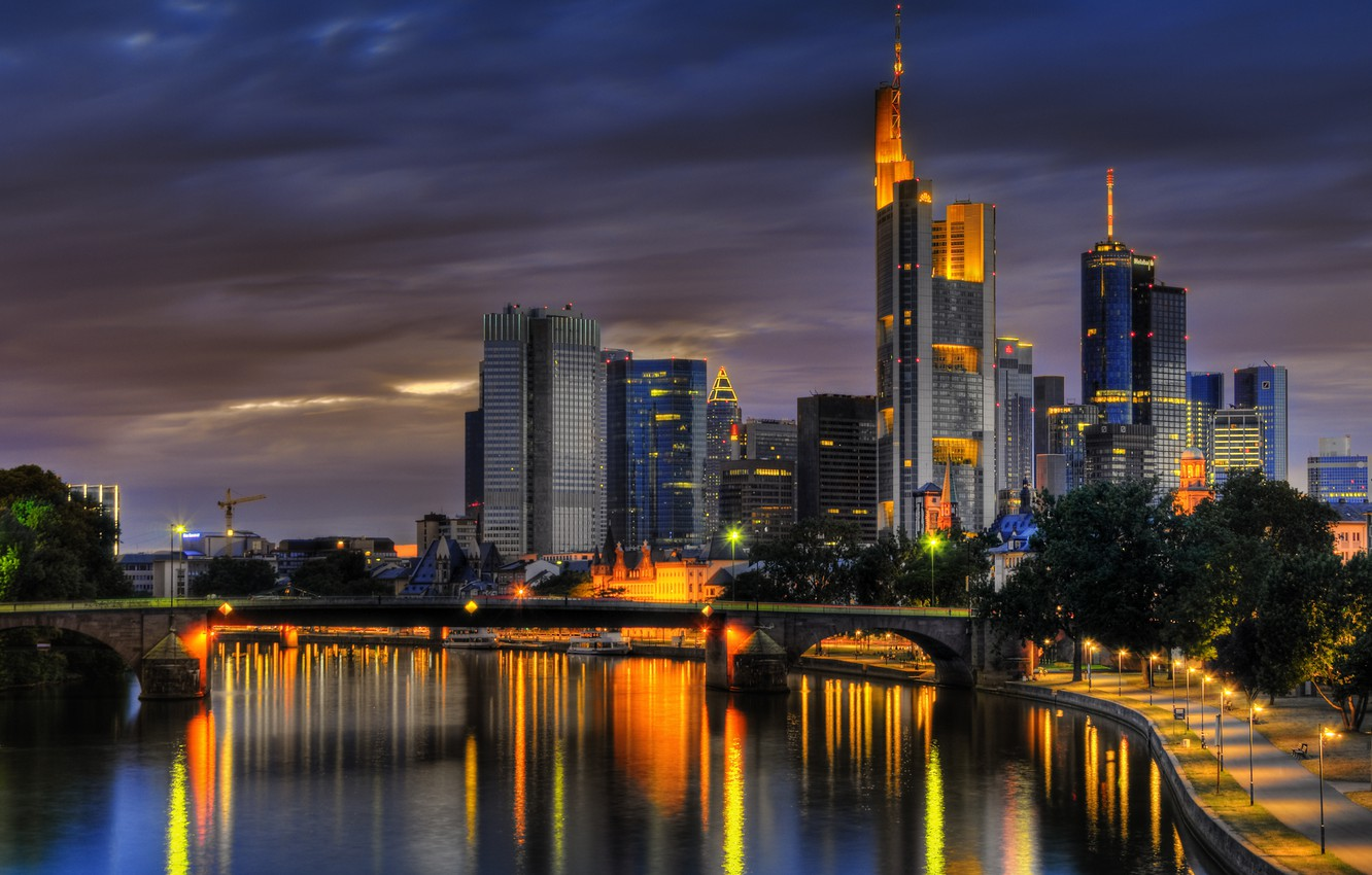 Photo wallpaper summer, the sky, clouds, dawn, Germany, Frankfurt am main