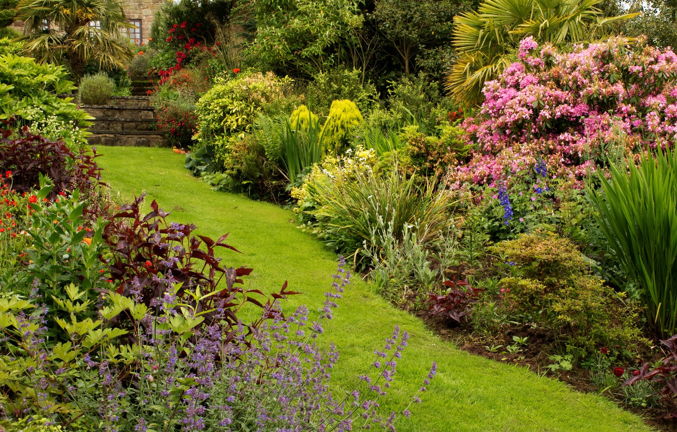 Photo wallpaper greens, grass, flowers, house, Park, track, UK, steps, the bushes, Mount Pleasant gardens