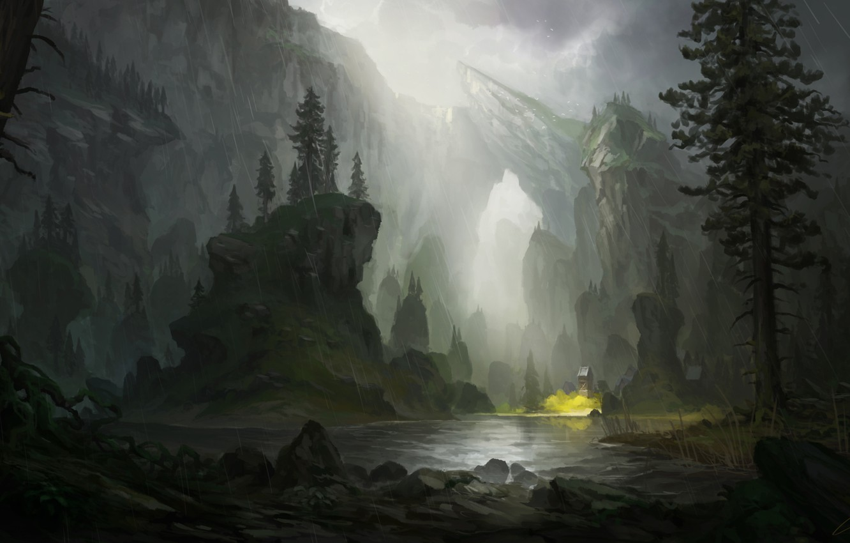 Photo wallpaper river, rain, rocks, art, painted landscape