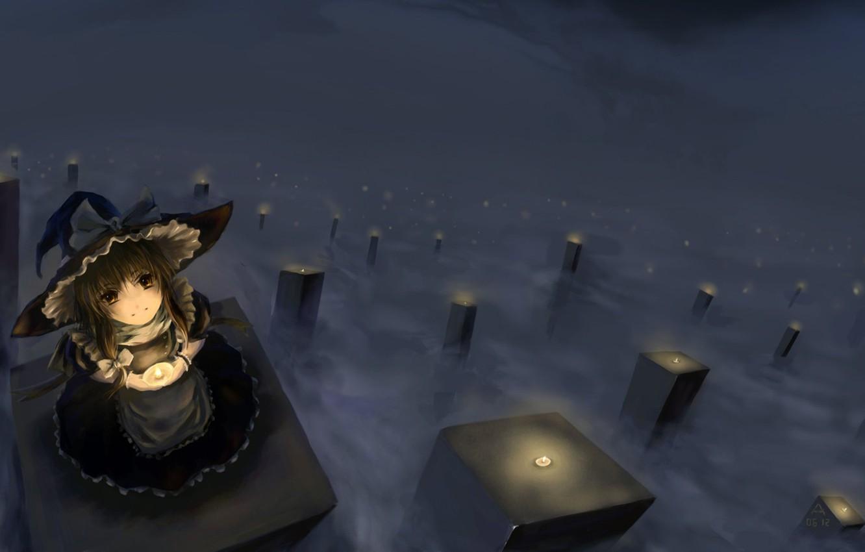 Photo wallpaper fog, hat, candles, dress, girl, kirisame marisa