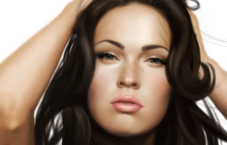 Photo wallpaper Megan Fox, Portrait, simple background