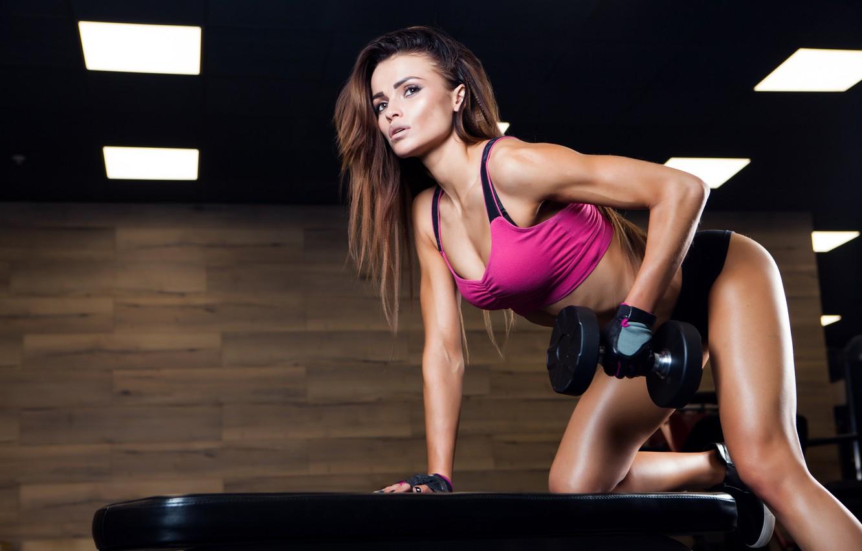 Photo wallpaper female, workout, fitness, dumbbell, sportswear, triceps