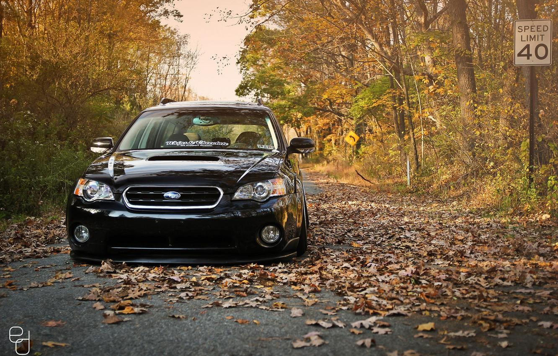 Photo wallpaper autumn, Subaru, black, Subaru, stance, Outback