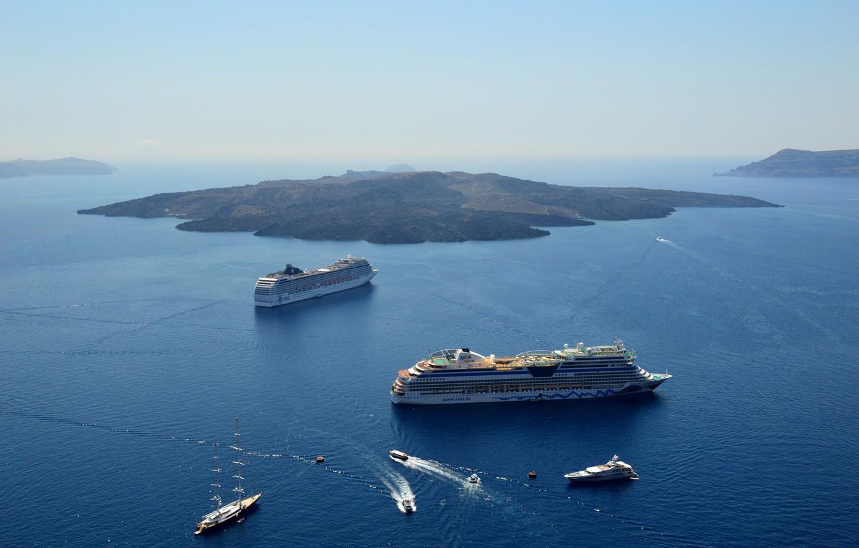 Photo wallpaper sea, ships, Santorini, Caldera