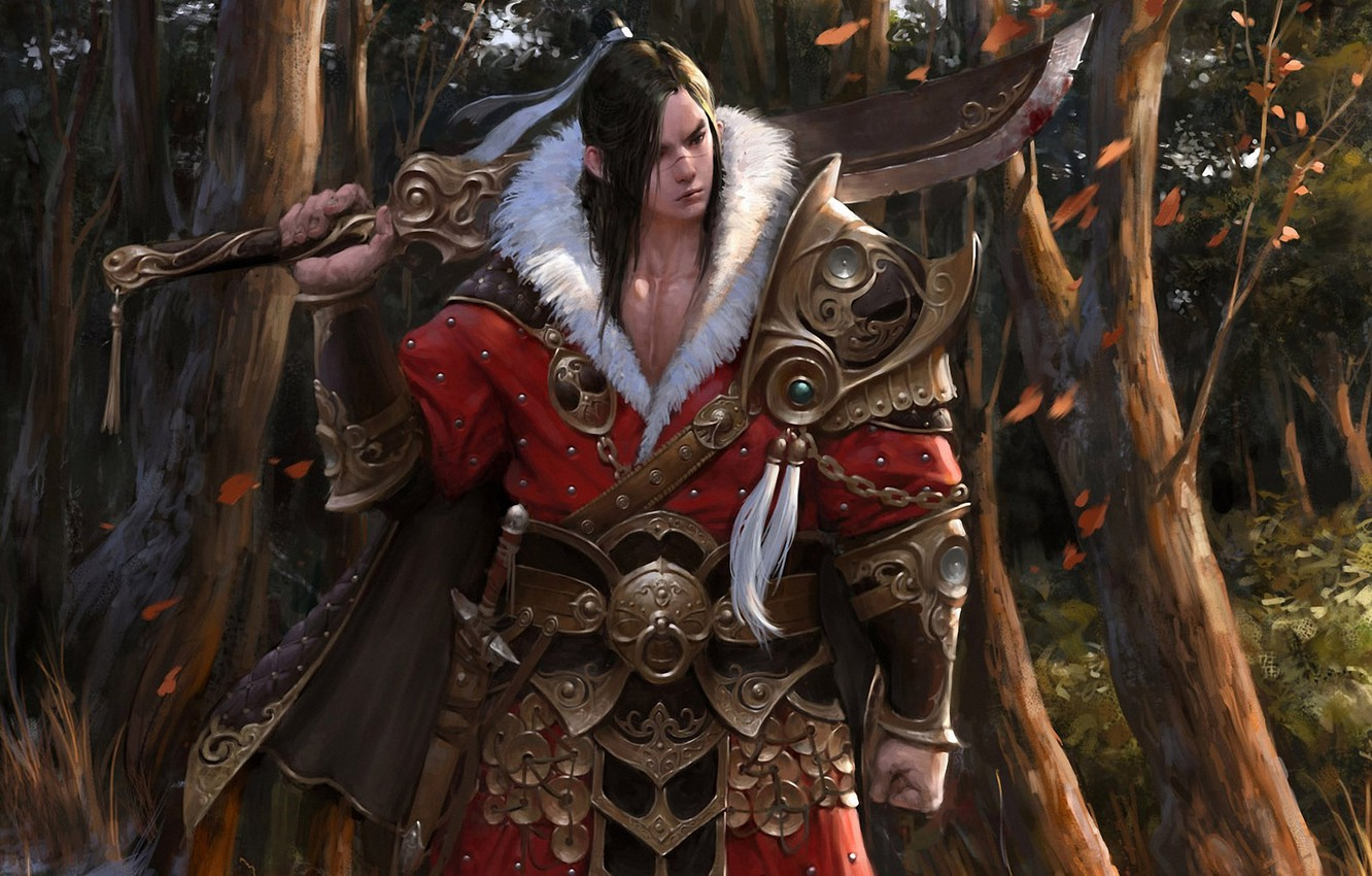 Photo wallpaper forest, leaves, trees, weapons, sword, art, fur, armor, guy, in red, brush, Asian, choi keun …