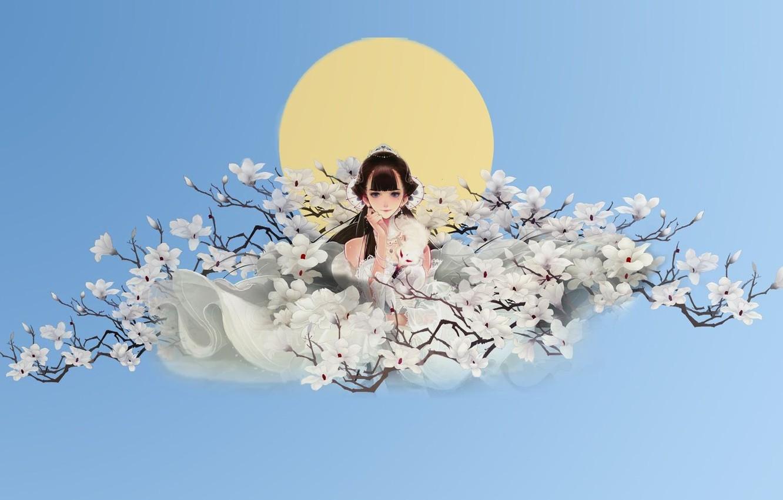 Photo wallpaper girl, flowers, spring, anime, art