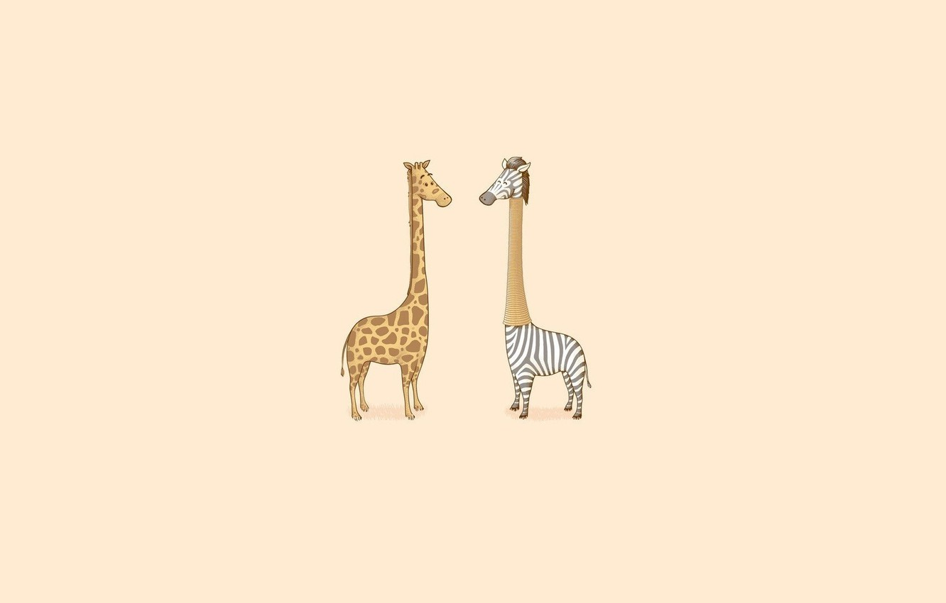Photo wallpaper Minimalism, Humor, Giraffe, Zebra, Art