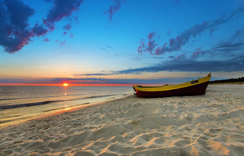 Photo wallpaper Beach, Sunset, Sands, Boat