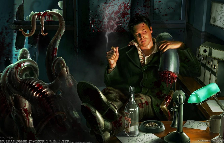 Photo wallpaper blood, figure, monster, office, cigar, henning lucas