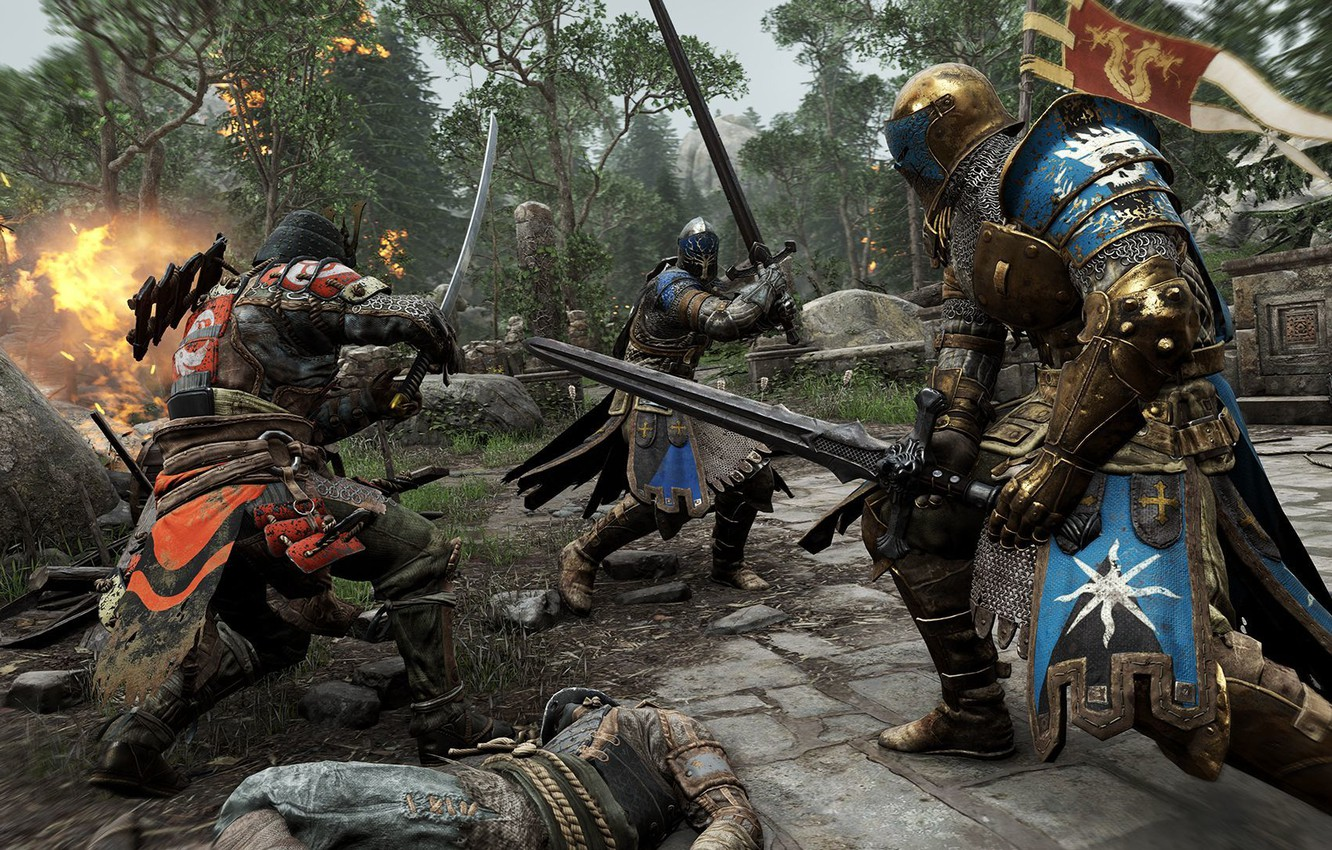 Photo wallpaper armor, samurai, flags, battle, knight, the middle ages, Ubisoft, For Honor