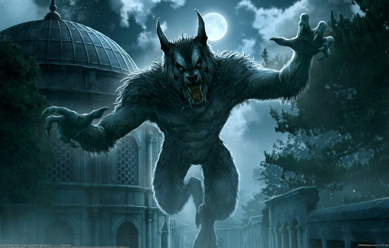 Photo wallpaper night, the city, fantasy, Kerem Couplets, the full moon, werewolf