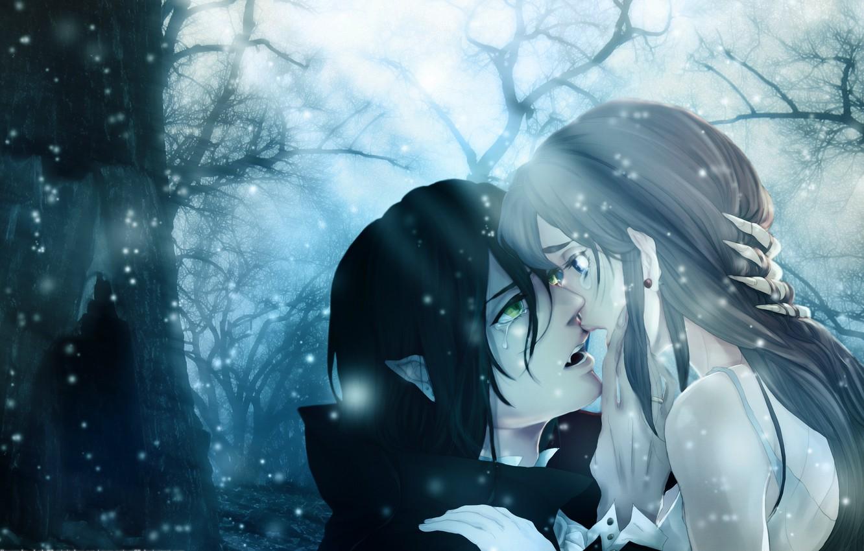 Photo wallpaper forest, girl, fireflies, twilight, vampire, tears, Vampire Kiss