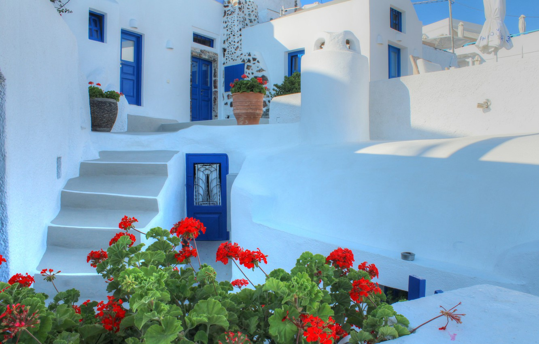 Photo wallpaper flowers, house, Santorini, Greece, the door, stage