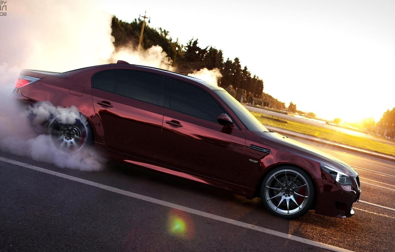 Photo wallpaper Smoke, BMW, Dawn, BMW, E60, Smotra
