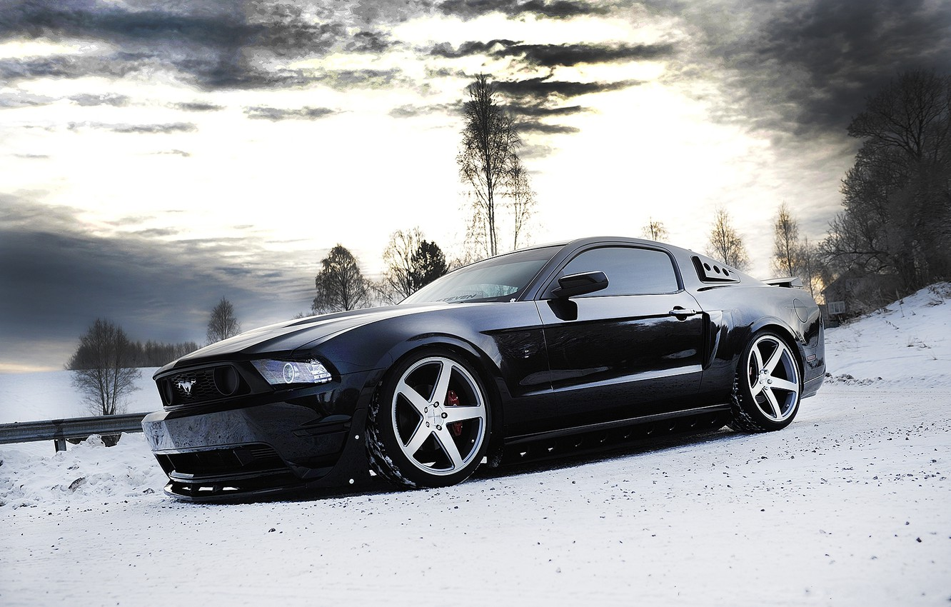 Photo wallpaper winter, the sky, snow, trees, clouds, black, mustang, Mustang, wheels, ford, drives, black, Ford, side …