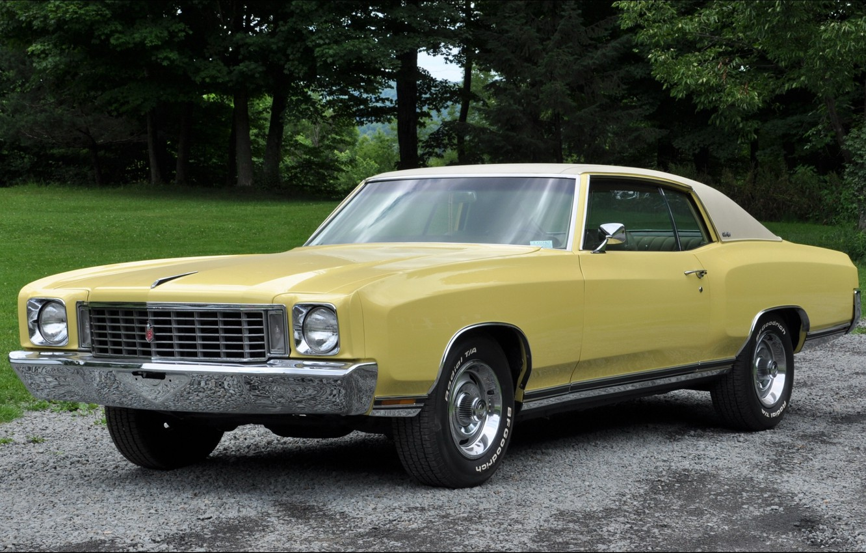 Photo wallpaper yellow, Chevrolet, Chevrolet, chrome, Muscle car, 1972, Monte Carlo, Monte Carlo
