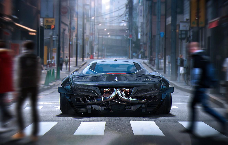 Photo wallpaper City, Ferrari, 458, Grey, Tuning, Future, Italia, Rear, by Khyzyl Saleem