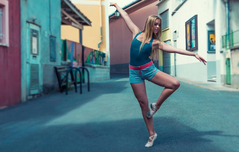 Photo wallpaper girl, the city, street, dance