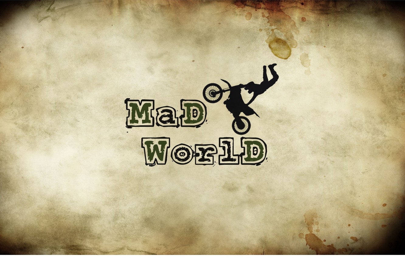 Photo wallpaper bike, letters, the inscription, moped, spot, motorcycle, crazy world, mad world, beige khaki background