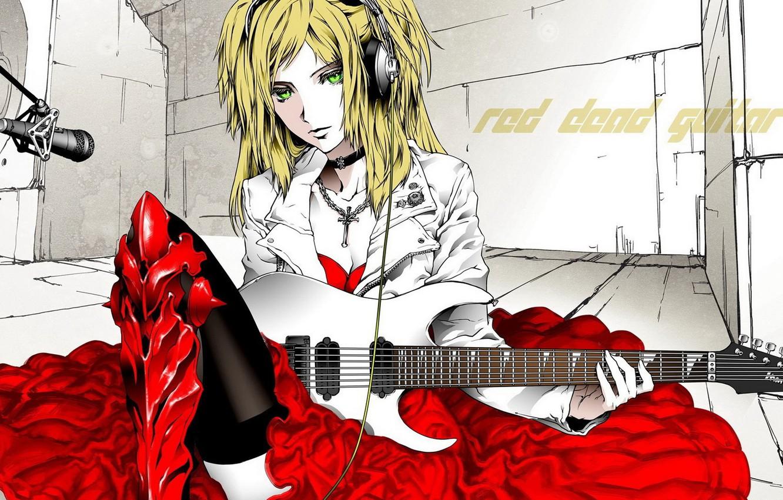 Photo wallpaper RED DEAD GUITAR, HEADPHONES, RED DRESS