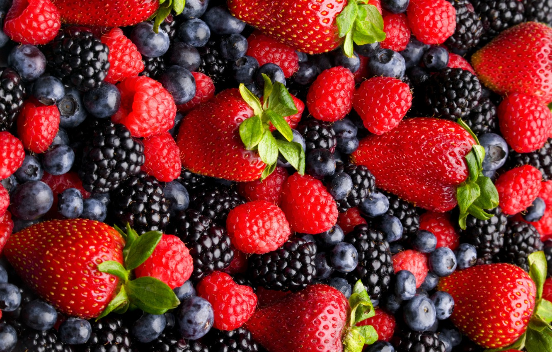 Photo wallpaper berries, raspberry, strawberry, BlackBerry, blueberries