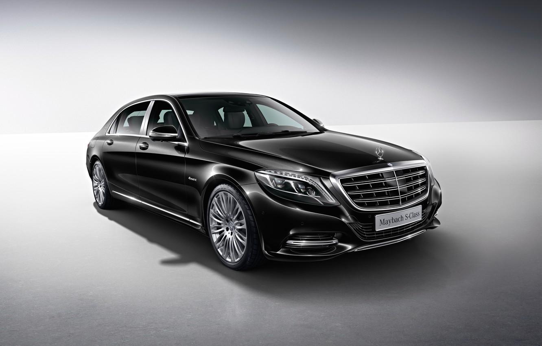 Photo wallpaper black, Mercedes-Benz, Maybach, side, Mercedes, Black, X222, 2015, S 500, S-Cass