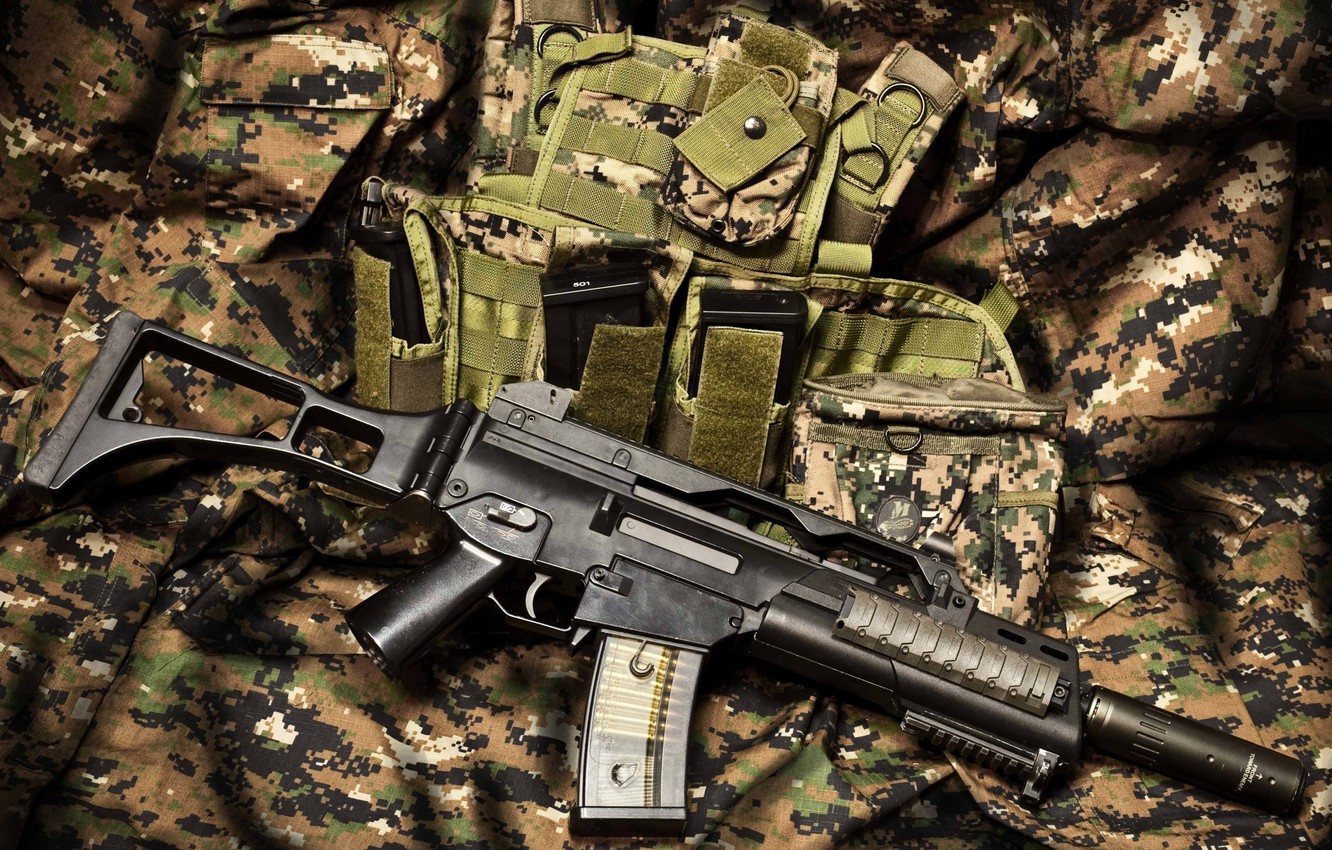Photo wallpaper equipment, automatic rifle, camouflage fabric
