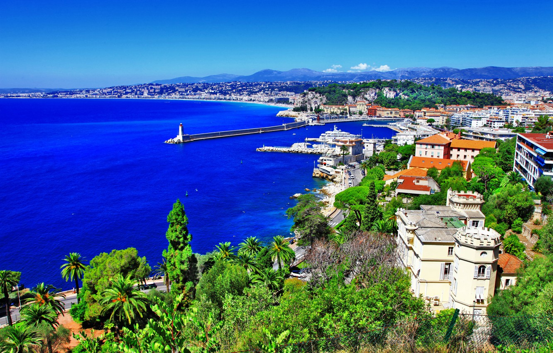 Photo wallpaper sea, trees, landscape, mountains, rock, stones, palm trees, coast, France, lighthouse, home, panorama, Nice, Nice